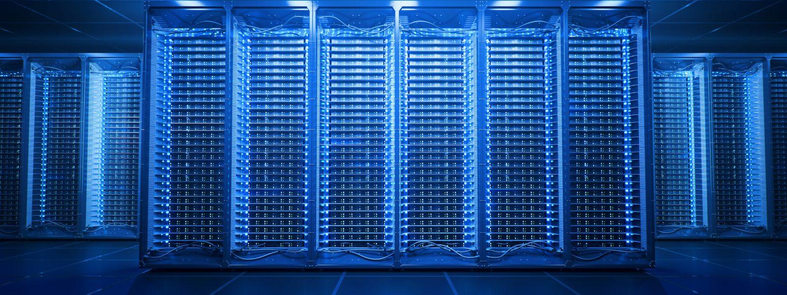 Server room in data center or server room data center. Hosting services. 3d rendering